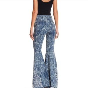 FREE PEOPLE Embroidered Hi-Waisted Flare Jeans